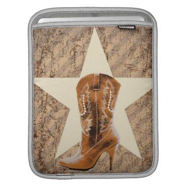 Rustic Texas Star Western Country Cowgirl Boot Sleeve For iPads