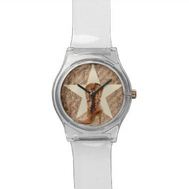 Rustic Texas Star Western Country Cowgirl Boot Wristwatch
