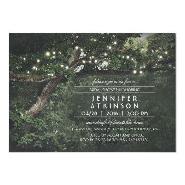 Rustic Tree String Lights Forest Bridal Shower Invitations