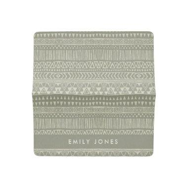 RUSTIC TRIBAL WHITE GREY BOHO PATTERN PERSONALIZED CHECKBOOK COVER