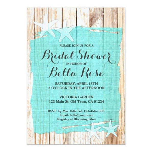 216 rustic turquoise starfish bridal shower invite