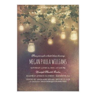 Rustic Vintage Mason Jar Lights Bridal Shower Invitations