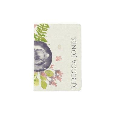 RUSTIC VIOLET PINK WILD FLOWERS & FERNS MONOGRAM PASSPORT HOLDER