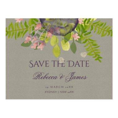 RUSTIC VIOLET WILD FLOWERS & FERNS Save the date PostInvitations