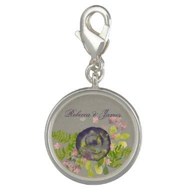 RUSTIC VIOLET YELLOW WILD FLOWERS & FERNS MONOGRAM CHARM