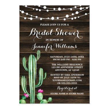 Rustic Watercolor Cactus Barn Wood