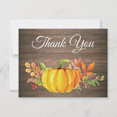 Rustic Watercolor Fall Pumpkin Thank You Invitations