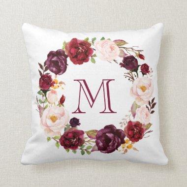 Rustic Watercolor Floral Wreath Monogram-1 Throw Pillow