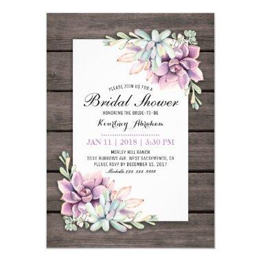 Rustic Watercolor Succulent Floral Bridal Shower Invitations
