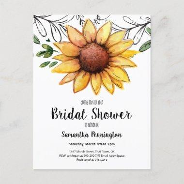 Rustic Watercolor Sunflower Bridal Shower Invitation PostInvitations