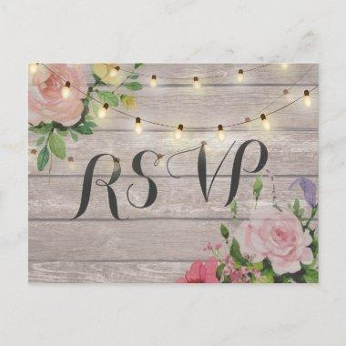 Rustic Wedding Floral Wood String Light RSVP Reply Invitation Post