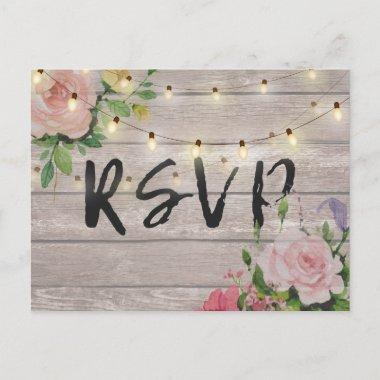 Rustic Wedding Floral Wood String Light RSVP Reply Invitation PostInvitations