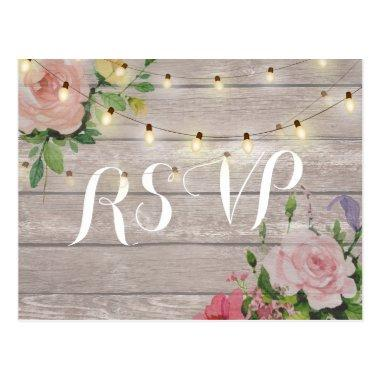Rustic Wedding Floral Wood String Light RSVP Reply Post