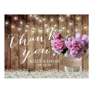 Rustic Wedding Pink Floral Mason Jar Thank You Post