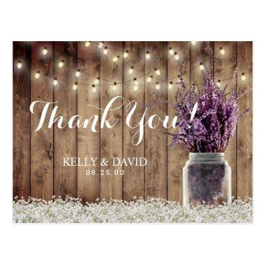 Rustic Wedding String Light Lavender Jar Thank You Post