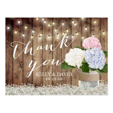 Rustic Wedding Thank You Hydrangea & Baby's Breath Post