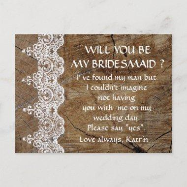Rustic White Lace Will You Be My Bridesmaid Post Invitation Post