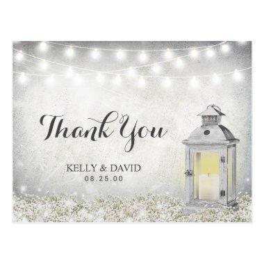 Rustic White Lantern Country Wedding Thank You PostInvitations