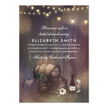 Rustic Winery Lights Wine Tasting Bridal Shower Invitations