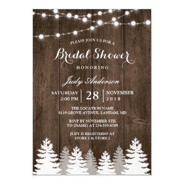 36931e6fd247 Rustic Winter Bridal Shower String Light Pine Tree Invitations