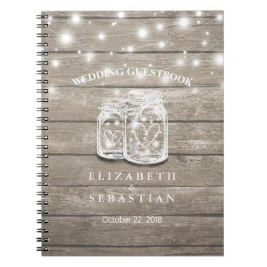 Rustic Wood and Mason Jar Lights Wedding Guestbook Notebook