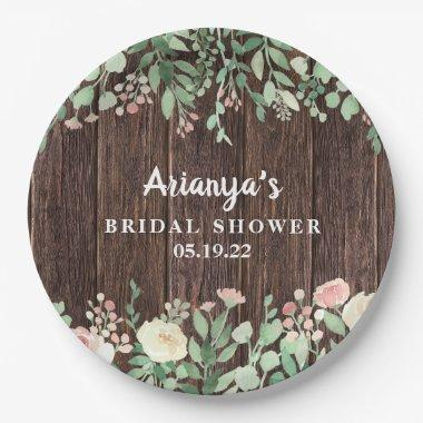 Rustic Wood Blush Floral Bridal Shower Decor Paper Plate