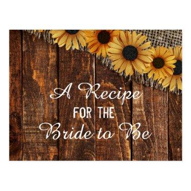 Rustic Wood & Burlap Sunflower Bride Recipe Invitations