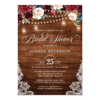 Rustic Wood Floral Mason Jar Bridal Shower Invitations