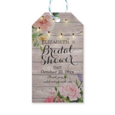 Rustic Wood Floral String Lights  Gift Tags
