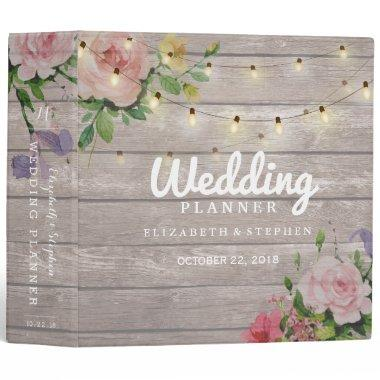 Rustic Wood Floral String Lights Wedding Planner 3 Ring Binder