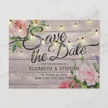 Rustic Wood Floral String Lights Wedding Save Date Announcement PostInvitations