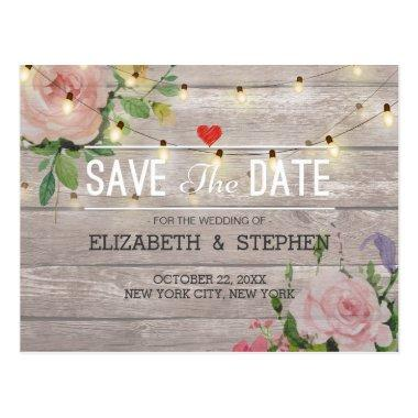 Rustic Wood Floral String Lights Wedding Save Date Post