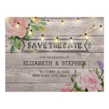 Rustic Wood Floral String Lights Wedding Save Date Post