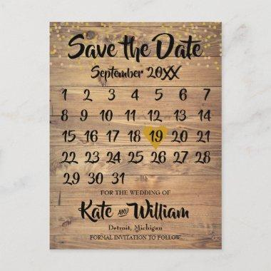 Rustic Wood Gold Love Heart Calendar Save the Date Announcement PostInvitations
