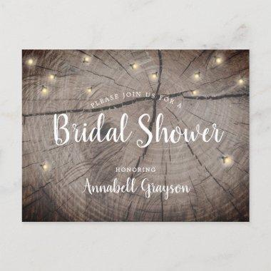 Rustic Wood Grain Fireflies Bridal Shower Invitation PostInvitations