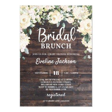 Rustic wood greenery white roses bridal brunch Invitations