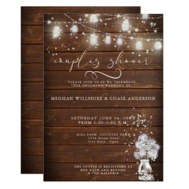Rustic Wood Jar String Lights theBarefootBride™ Invitations