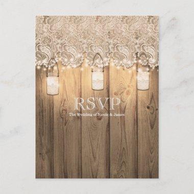 Rustic Wood Lace & Lighted Mason Jar Wedding RSVP Invitation Post