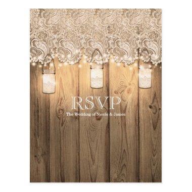 Rustic Wood Lace & Lighted Mason Jar Wedding RSVP Post