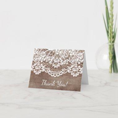 Rustic Wood Lace Thank You Note