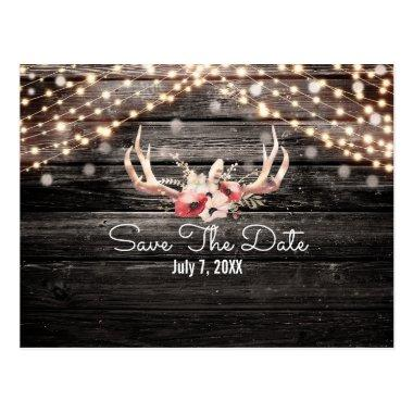 Rustic Wood & Lights Floral Antlers Save the Date PostInvitations