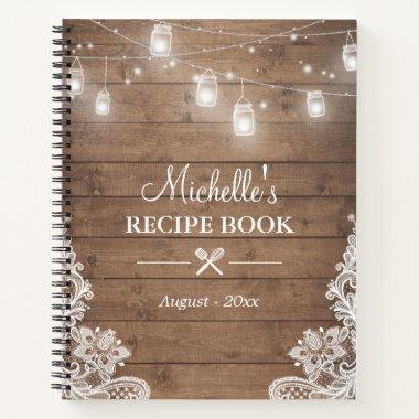 Rustic Wood Look String Lights Lace Recipe Book