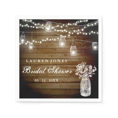 Rustic Wood Mason Jar Lights  Napkin