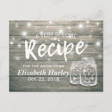 Rustic Wood Mason Jar Lights Bridal Shower Recipe Invitation PostInvitations