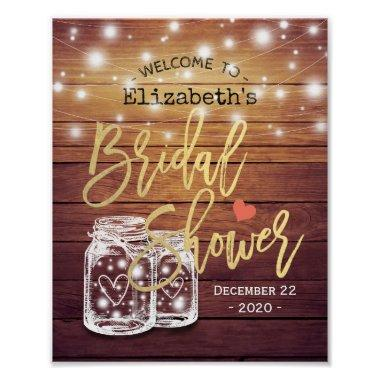 Rustic Wood Mason Jar Lights  Welcome Poster