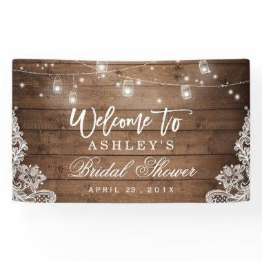Rustic Wood Mason Jar Lights Lace Bridal Shower Banner