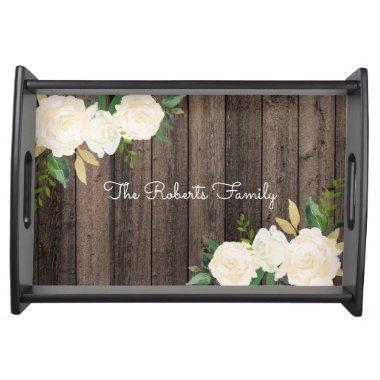 Rustic Wood & Modern Floral Family Party Custom Serving Tray