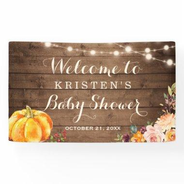 Rustic Wood Pumpkin Floral Fall Autumn Baby Shower Banner