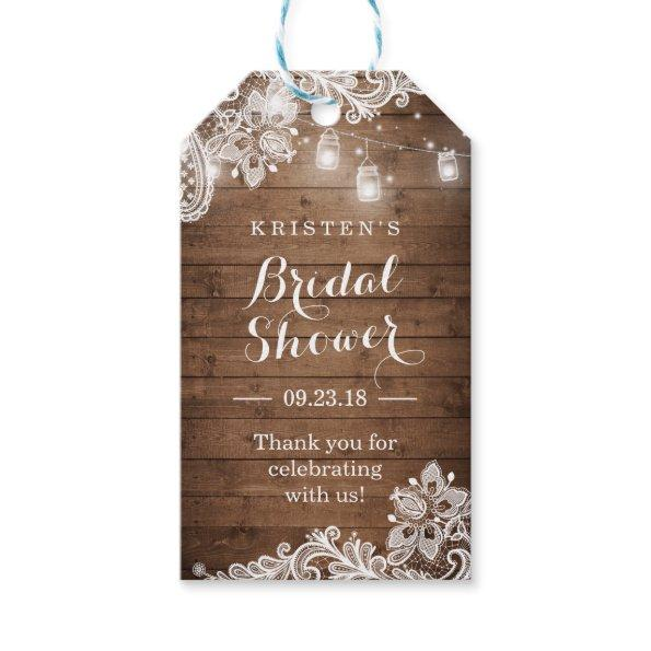 Rustic Wood String Lights  Thank You Gift Tags