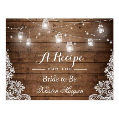 Rustic Wood String Lights Lace Bridal Recipe Invitations
